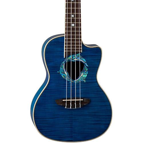 Luna Guitars Dolphin Concert Acoustic-Electric Ukulele Transparent Blue Flame Maple