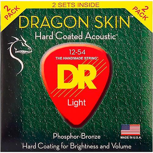 DR Strings Dragon Skin Clear Coated Phosphor Bronze Medium Acoustic Guitar Strings (12-54) 2 Pack-thumbnail