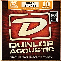 Dunlop Extra Light 80/20 Bronze Acoustic Guitar Strings (DAB1048)