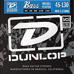 Dunlop Nickel Plated Steel Bass Strings - Medium 5-String with 130 (DBN45130)