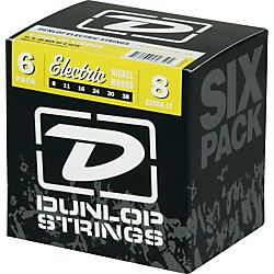 Dunlop Nickel Plated Steel Electric Guitar Strings Extra Light 6-Pack (6CDEN0838)