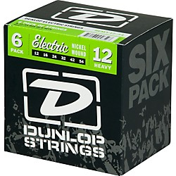 Dunlop Nickel Plated Steel Electric Guitar Strings Heavy 6-Pack (6CDEN1254)
