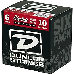 Dunlop Nickel Plated Steel Electric Guitar Strings Medium 6-Pack (6CDEN1046)