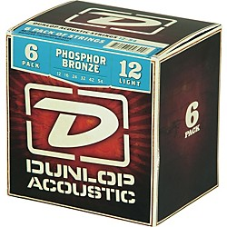 Dunlop Phosphor Bronze Acoustic Guitar Strings Light 6-Pack (6CDAP1254)