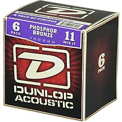 Dunlop Phosphor Bronze Acoustic Guitar Strings Medium Light 6-Pack (6CDAP1152)