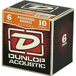 Dunlop Phosphor Bronze Acoustic Guitar Strings Xtra Light 6-Pack (6CDAP1048)