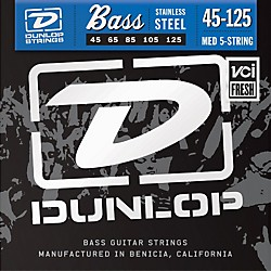 Dunlop Stainless Steel Medium 5 String Bass Strings (DBS45125)