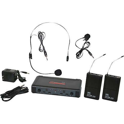 Galaxy Audio ECD Dual Channel UHF Wireless System with One Lapel and One Headset Microphone-thumbnail