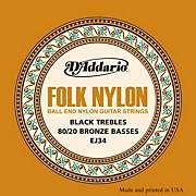 D'Addario EJ34 Folk Nylon 80/20 Bronze/Ball End Black Treble Guitar Strings