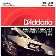 D'Addario EJ55 Phosphor Bronze Medium 5-String Banjo Strings (10-23)