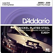 D'Addario EJ60+ Nickel Light Plus 5-String Banjo Strings (9.5-20)