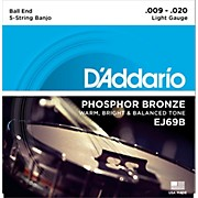 D'Addario EJ69 Phosphor Bronze Light 5-String Ball-End Banjo Strings (9-20)