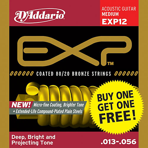 D'Addario EXP12 Coated 80/20 Bronze Medium 6-String Acoustic String Set - Buy One Get One Free