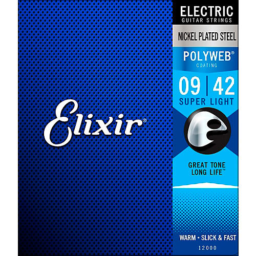 Elixir Electric Guitar Strings with POLYWEB Coating, Super Light (.009-.042)