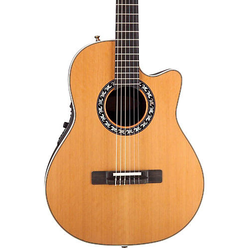 Ovation Elite AX Mid-Depth Cutaway Acoustic-Electric Nylon String Guitar Natural