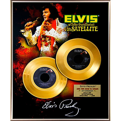 24 Kt. Gold Records Elvis Presley - Aloha From Hawaii 35th Anniversary Gold 45 Limited Edition of 2008-thumbnail