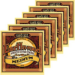 Ernie Ball 2002 Earthwood 80/20 Bronze Medium Acoustic Guitar Strings 6 Pack (KIT871179)