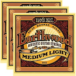 Ernie Ball 2003 Earthwood 80/20 Bronze Medium Light Acoustic Strings (3-Pack) (P02003-3PK)