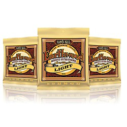Ernie Ball 2004 Earthwood 80/20 Bronze Light Acoustic Guitar Strings - 3 Pack (P02004-3P)