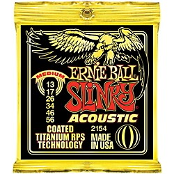Ernie Ball 2154 Coated Slinky Acoustic Strings Medium 2 Pack (KIT772524)