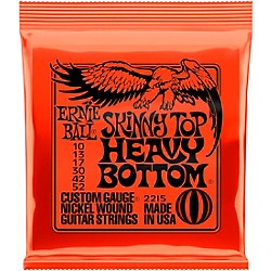 Ernie Ball 2215 Nickel Skinny Top/Heavy Bottom Electric Guitar Strings (P02215)