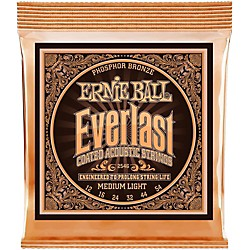 Ernie Ball 2546 Everlast Phosphor Medium Light Acoustic Guitar Strings (P02546)