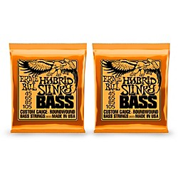Ernie Ball 2833 Hybrid Slinky Round Wound Bass Strings 2 Pack (KIT871189)