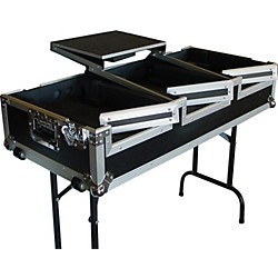 Eurolite DJ CD Coffin Case with Laptop Shelf and Folding Table Legs (AC-DJCD12WCTS)