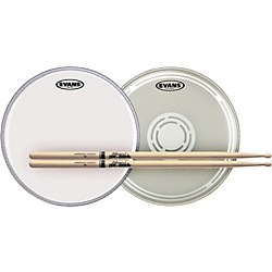 Evans EC Reverse Dot Snare Batter and Snare Side Head Pack with Free Pair of Pro-Mark Sticks (ECRDBSS-TX5AW)