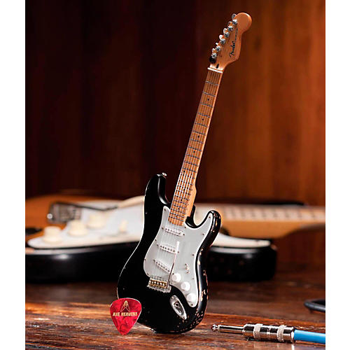Axe Heaven Fender Stratocaster Black Vintage Distressed Miniature Guitar Replica Collectible-thumbnail