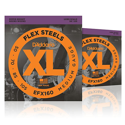 D'Addario FlexSteels Long Scale Bass Strings (50-105) - 2-Pack-thumbnail