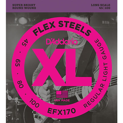 D'Addario Flexsteels Long Scale Bass Guitar Strings (45-100)-thumbnail