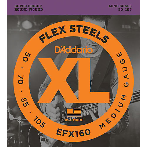 D'Addario Flexsteels Long Scale Bass Guitar Strings (50-105)-thumbnail