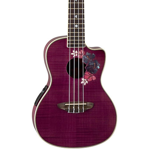 Luna Guitars Flora Concert Ukulele Transparent Purple Flame Maple