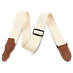 "Franklin Strap 2"" Natural Cotton Guitar Strap with Leather Ends (1-N-CA)"