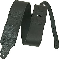 "Franklin Strap 3"" Black Leather Guitar Strap With Tooled Ends (FSWT-BK-BK)"