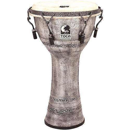 Toca Freestyle Antique-Finish Djembe 10 in. Silver