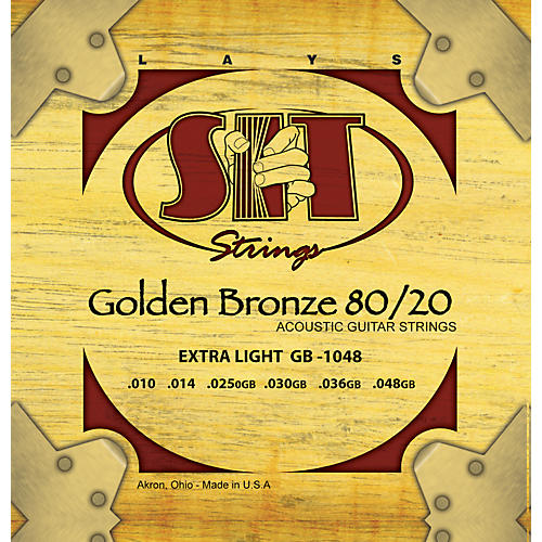 SIT Strings GB1048 Extra Light 80/20 Golden Bronze Acoustic Guitar Strings-thumbnail