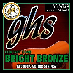 GHS Contact Core Bright Bronze Medium Acoustic Guitar Strings (12-54) (CCBB30)
