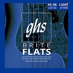 GHS L3075 Brite Flats Flatwound Electric Bass Strings (L3075)