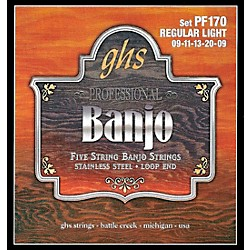 GHS Stainless Steel 5-String Banjo Strings - Light (PF170)