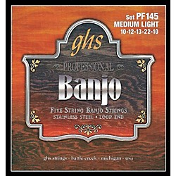 GHS Stainless Steel 5-String Banjo Strings - Medium Light (PF145)