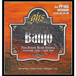 GHS Stainless Steel 5-String Banjo Strings - Medium (PF180)
