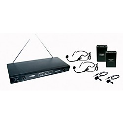 Gem Sound 2 Channel VHF Wireless System w/2 Headset/ 2 Lapel Mics (GMW62-EF)