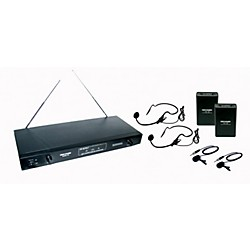 Gem Sound 2-Channel VHF Wireless System with 2 Headsets and 2 Lapel Mics (GMW62-CD)