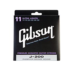 Gibson J200UL Deluxe Phosphor Bronze Ultra Light Acoustic Guitar Strings (SAG-J200UL)