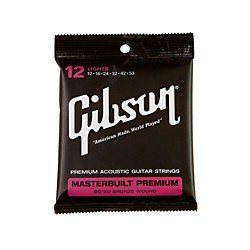 Gibson Masterbuilt Premium 80/20 Bronze Lights Acoustic Guitar Strings (SAG-BRS12)