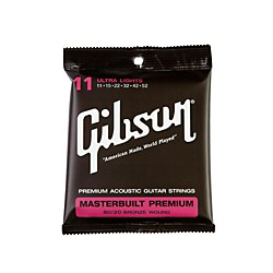 Gibson Masterbuilt Premium 80/20 Bronze Ultra Light Acoustic Guitar Strings (SAG-BRS11)