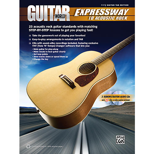 Alfred Guitar World - Expressway to Acoustic Rock Easy Guitar TAB Book & 2 CDs