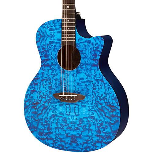 Luna Guitars Gypsy Acoustic Guitar Transparent Blue Quilt